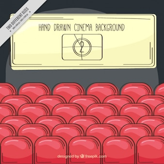 Hand-drawn cinema background with red seats