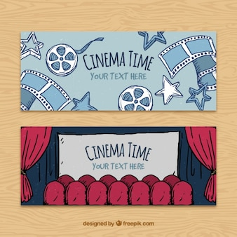 Hand-drawn cinema banners