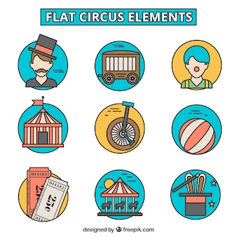 Hand drawn circus elements icons