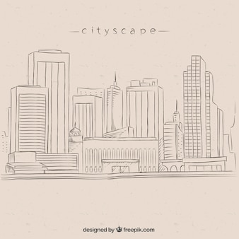 Hand drawn city background with high rises