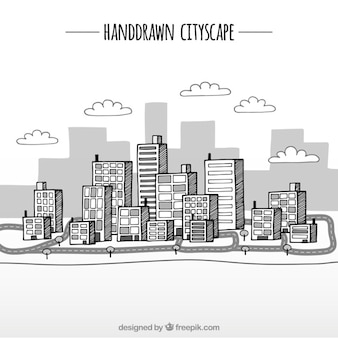 Hand drawn cityscape background in cartoon style