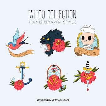 Hand drawn classical old school tattoo collection