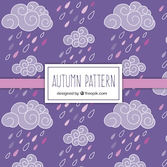 Hand drawn clouds and rain pattern