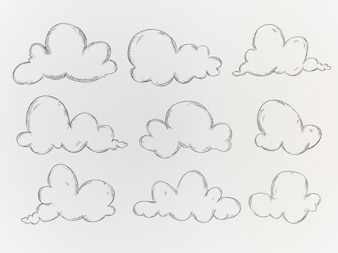 Hand drawn clouds collecti
