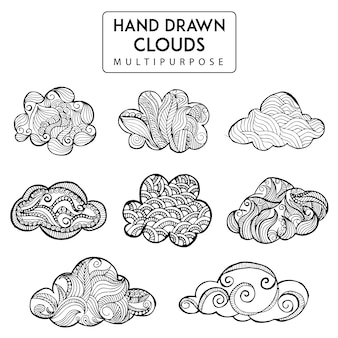Hand drawn clouds collection