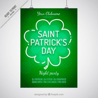 Hand drawn clover Saint Patrick's day poster