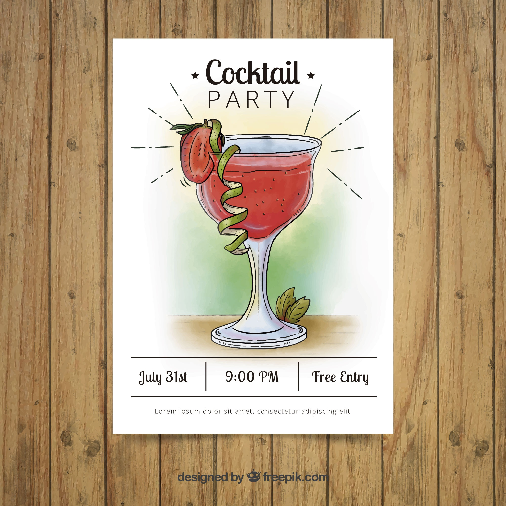 Hand drawn cocktail party brochure
