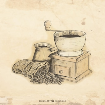 Hand drawn coffee grinder