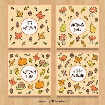 Hand drawn collection fo autumn cards