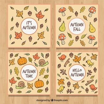 秋のカードの手描きのコレクション