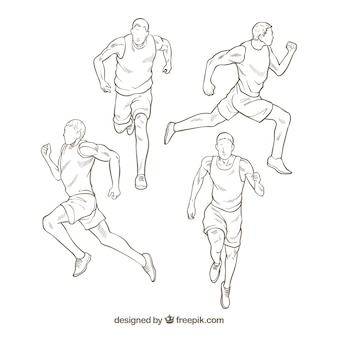 Hand-drawn collection of athlete running