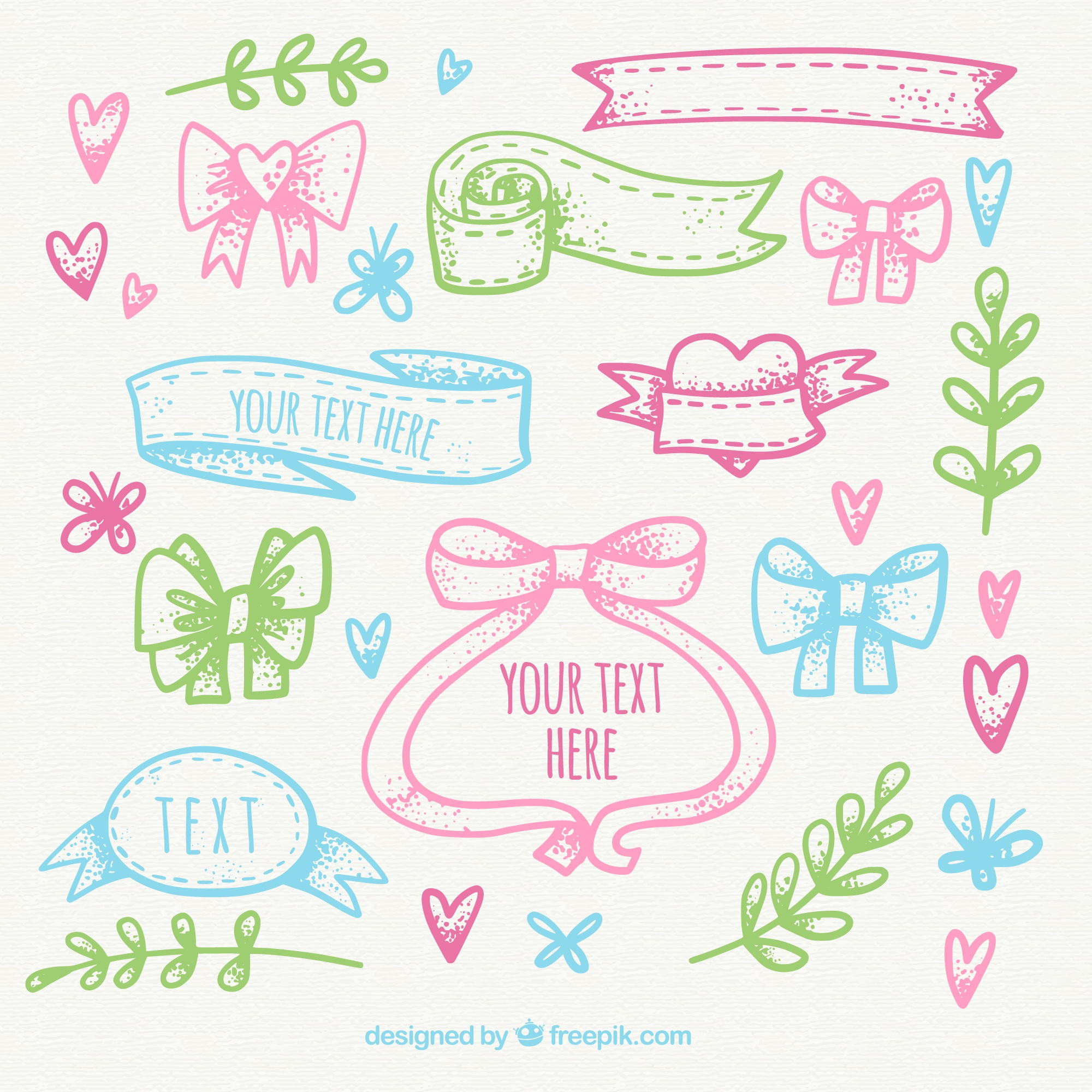Hand-drawn collection of colored ornaments and ribbons