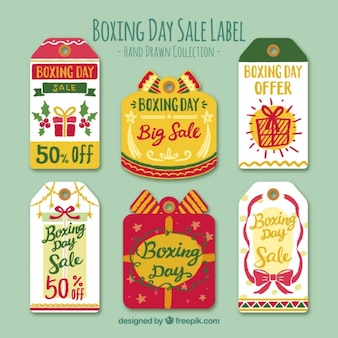 Hand-drawn collection of fantastic boxing day sale labels