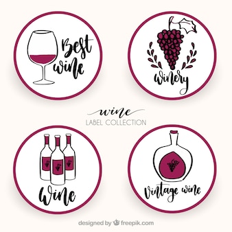 Hand-drawn collection of four round wine labels