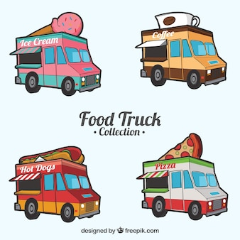 Hand drawn collection of fun food trucks
