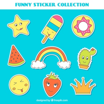 Hand drawn collection of funny stickers