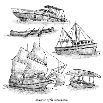 Hand-drawn collection of great boats