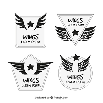 Hand-drawn collection of logos with wings and stars