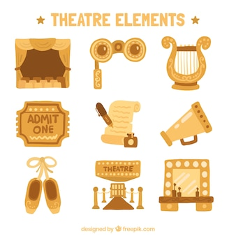 Hand-drawn collection of orange theater objects