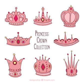 Hand-drawn collection of pink princess crowns