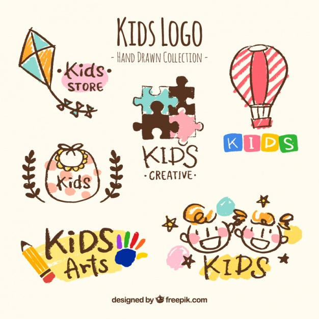 Hand-drawn collection of six kids logos