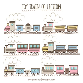Hand-drawn collection of toy trains with railroads