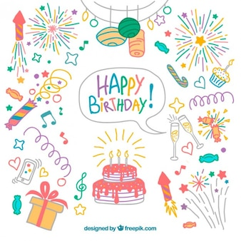 Hand drawn colored birthday elements pack