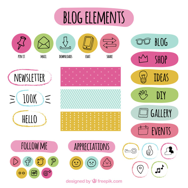 Hand drawn colored blog elements set