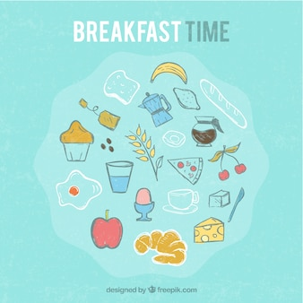 Hand drawn colored breakfast background