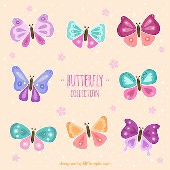 Hand drawn colored butterflies labels