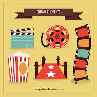 Hand drawn colored cinema objects
