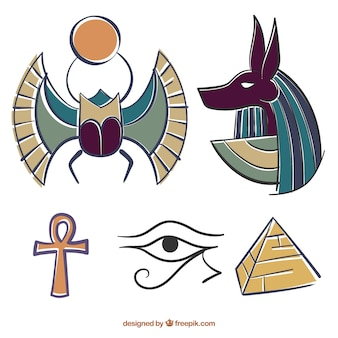 Hand drawn colored egyptian elements