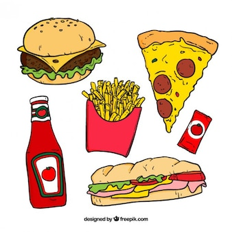 Hand drawn colored fast food