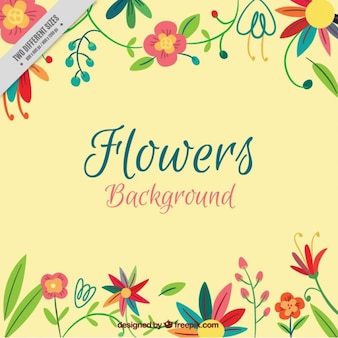 Hand drawn colored flowers background