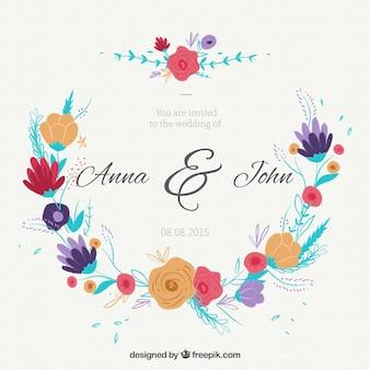 Hand drawn colored flowery wedding card