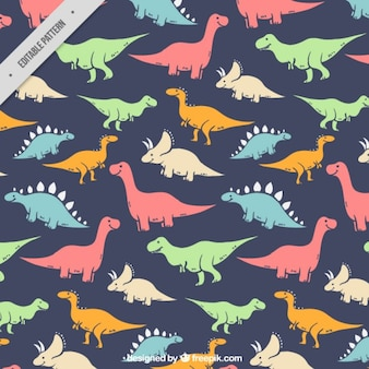 Hand drawn colored kind of dinosaurs pattern