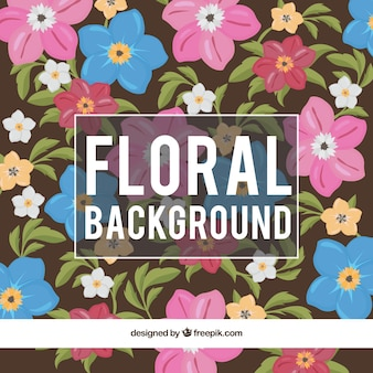 Hand drawn colored natural flowers background