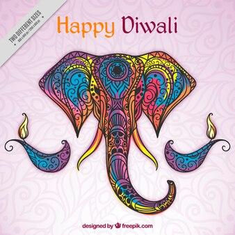Hand drawn colored ornamental elephant background of happy diwali