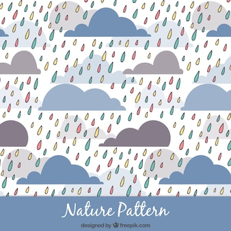 Hand drawn colored rain pattern