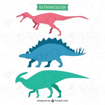 Hand drawn colored realistic dinosaurs