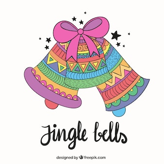Hand drawn colorful jingle bells