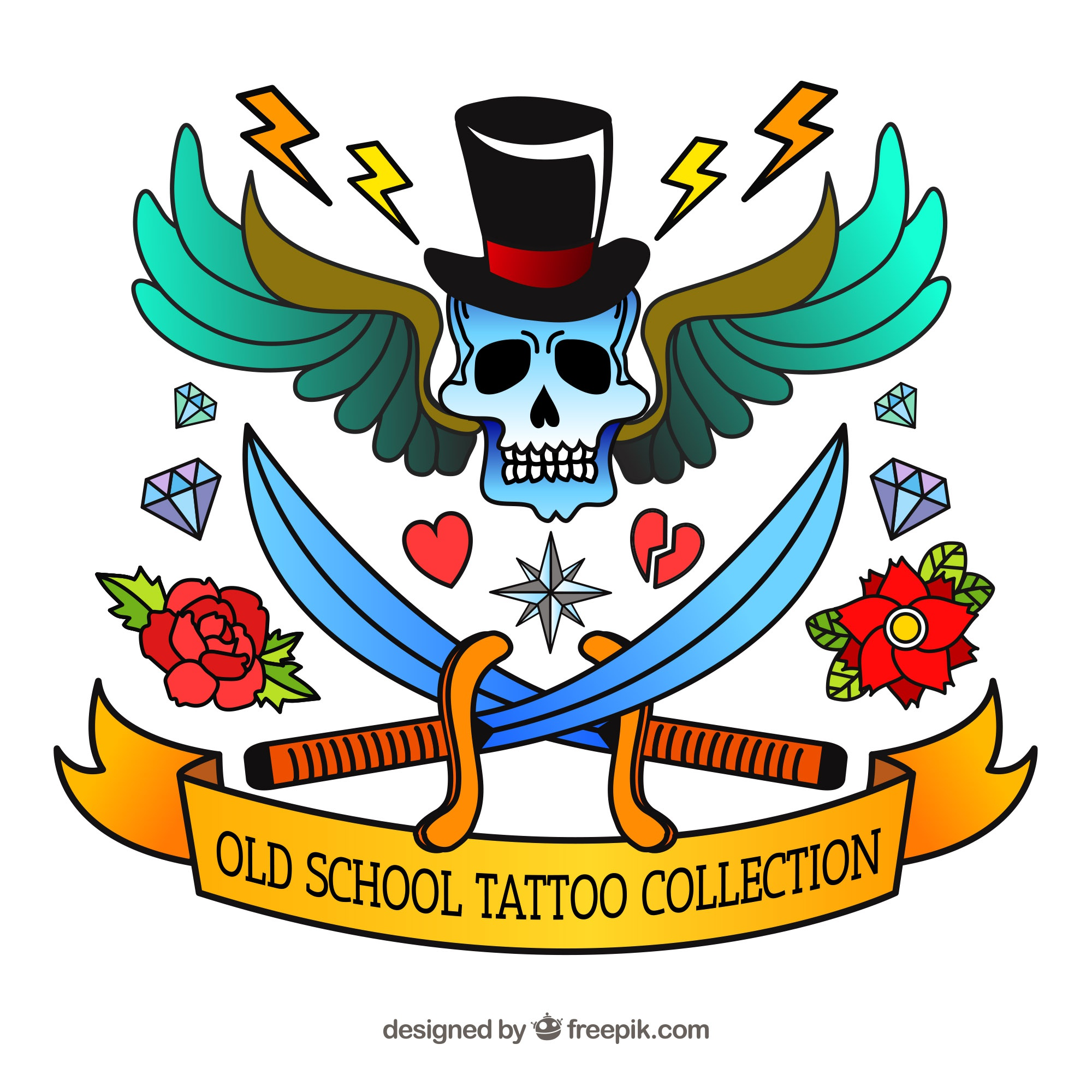 Hand drawn colorful old school tattoo collection