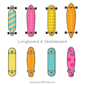 Hand drawn colorful skateboard collection
