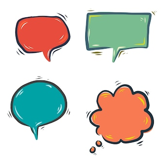 Hand drawn colorful speech bubbles