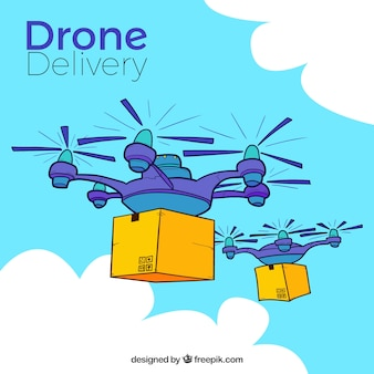 Hand drawn composition with delivery drones