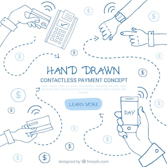 Hand drawn conctactless payment concept