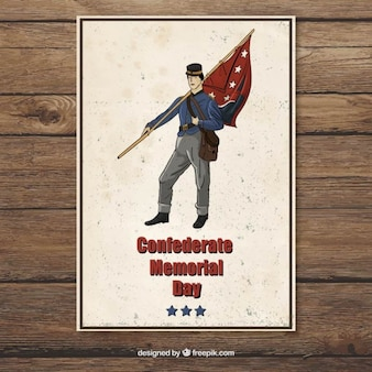 Hand drawn confederate memorial day card