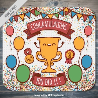 Hand drawn congratulation card with a nice trophy