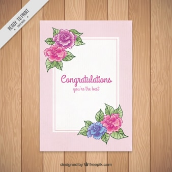 Hand drawn congratulations card with roses and leaves