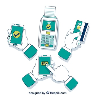 Hand drawn contactless payment concept